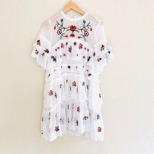 Chicwish White Meet in the Garden Chiffon Dress L